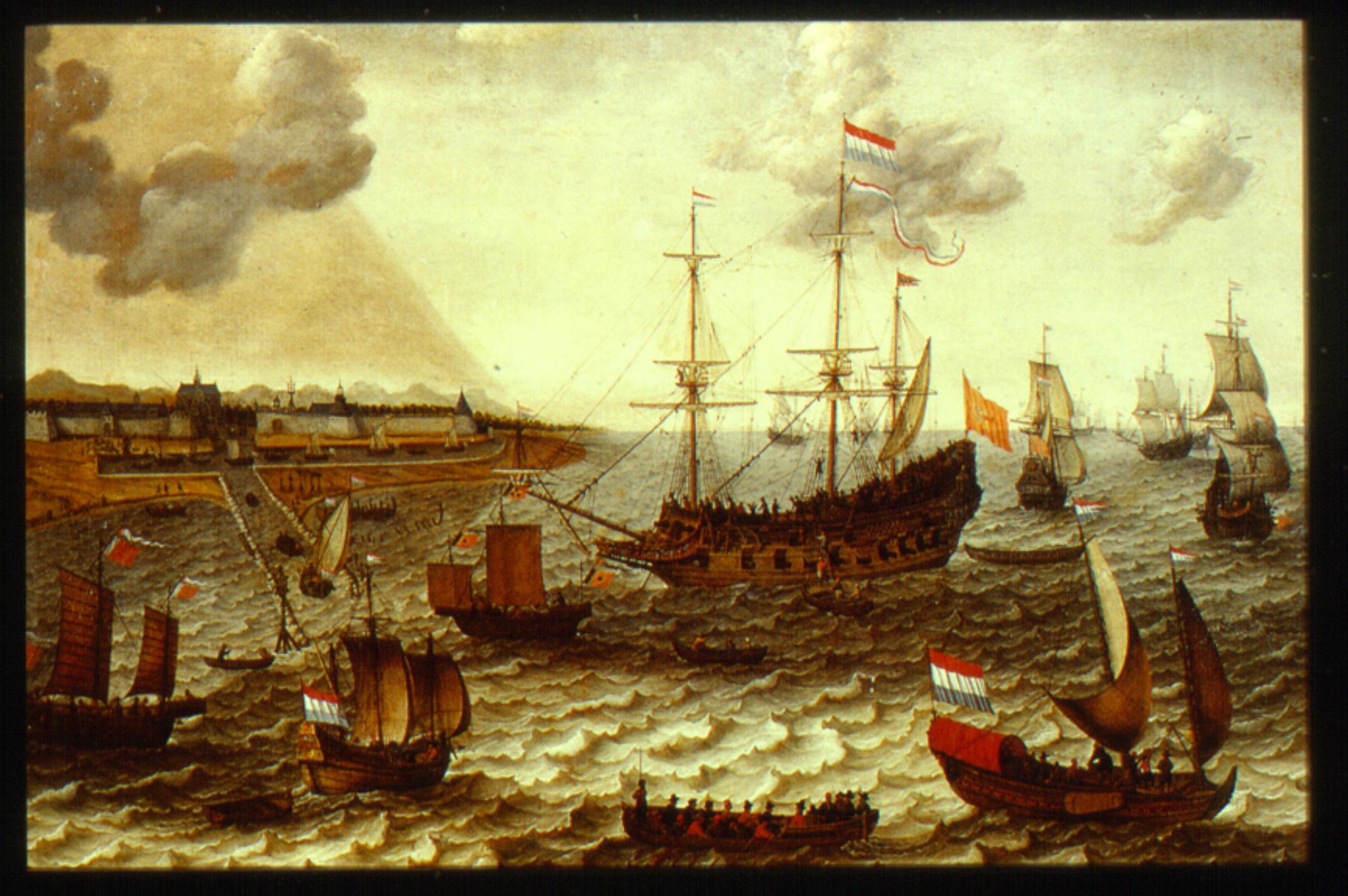 Dutch VOC Ships in front of city Batavia